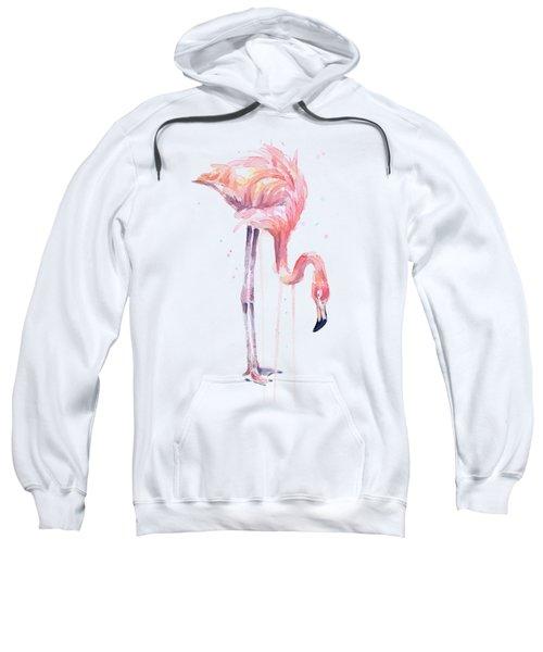 Flamingo Illustration Watercolor - Facing Left Sweatshirt by Olga Shvartsur