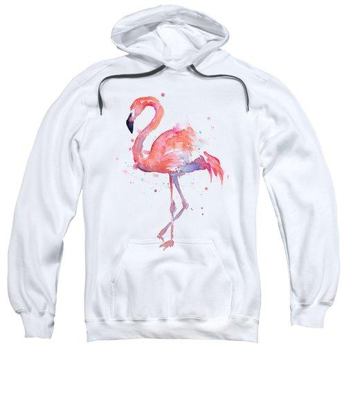 Flamingo Love Watercolor Sweatshirt by Olga Shvartsur