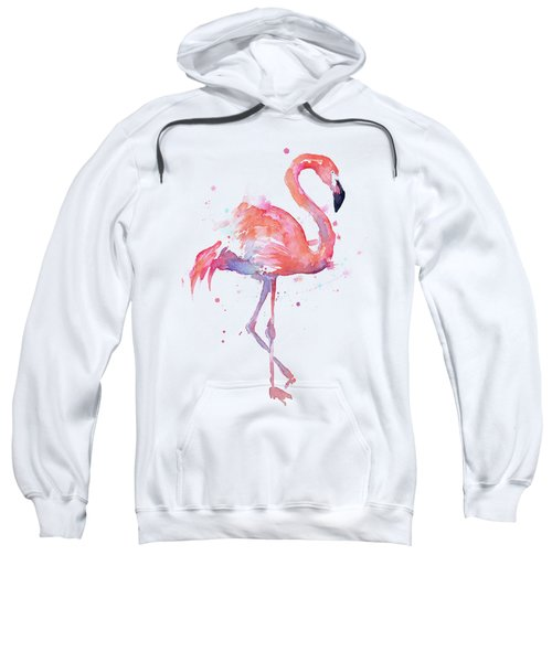 Flamingo Watercolor Facing Right Sweatshirt by Olga Shvartsur