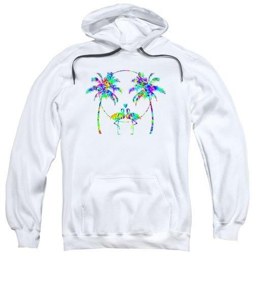 Flamingos In Love - Splatter Art Sweatshirt by Shara Lee