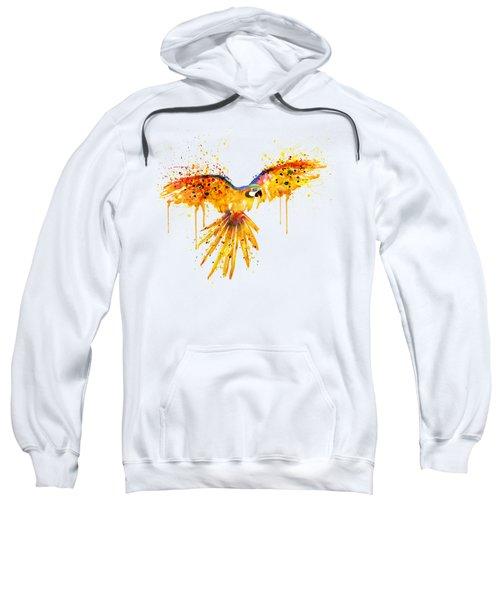 Flying Parrot Watercolor Sweatshirt by Marian Voicu