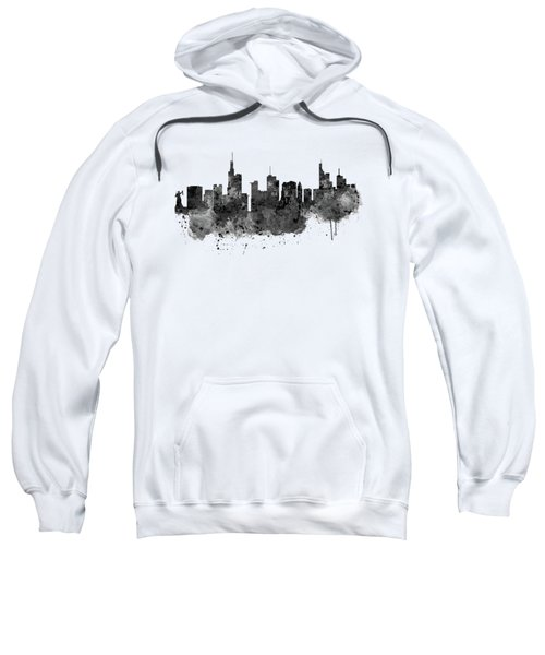 Frankfurt Black And White Skyline Sweatshirt by Marian Voicu
