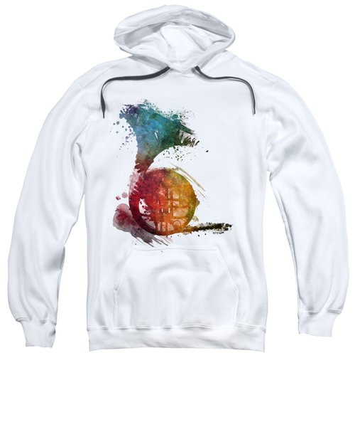 French Horn Colored Musical Instruments Sweatshirt by Justyna JBJart