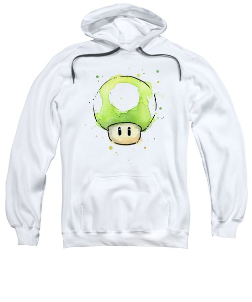 Green 1up Mushroom Sweatshirt by Olga Shvartsur