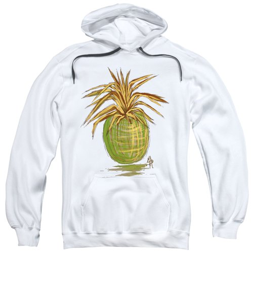 Green Gold Pineapple Painting Illustration Aroon Melane 2015 Collection By Madart Sweatshirt by Megan Duncanson