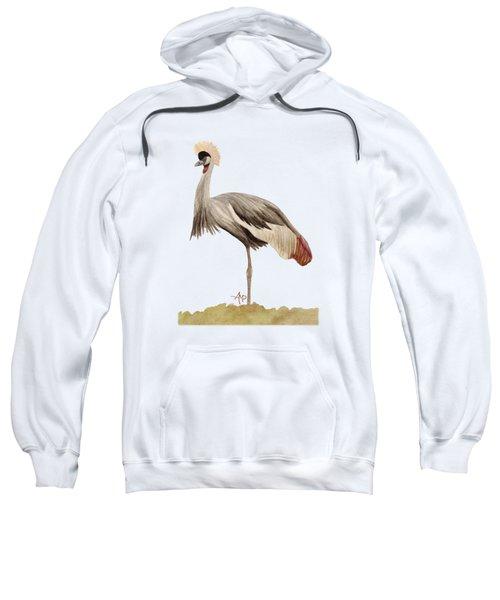 Grey Crowned Crane Sweatshirt by Angeles M Pomata