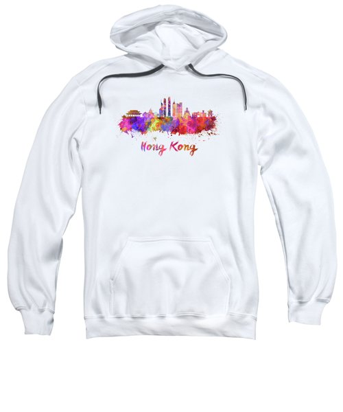 Hong Kong V2 Skyline In Watercolor Sweatshirt by Pablo Romero
