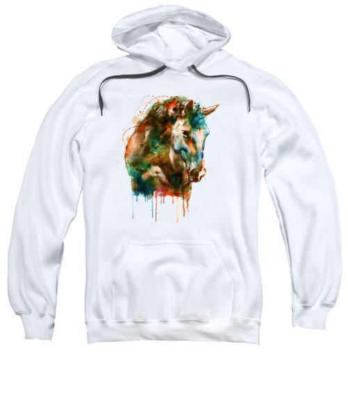 Horse Head Watercolor Sweatshirt by Marian Voicu