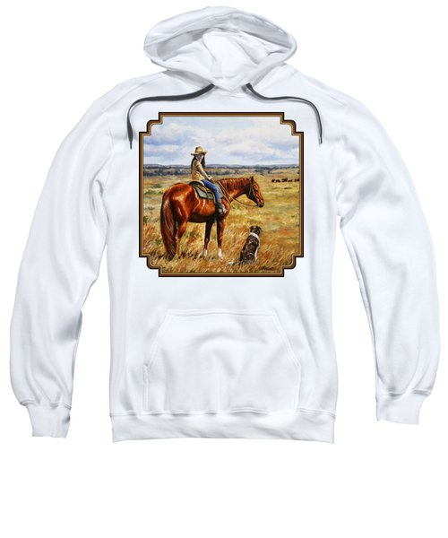 Horse Painting - Waiting For Dad Sweatshirt by Crista Forest