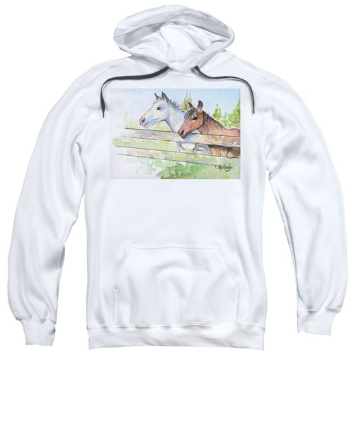 Horses Watercolor Sketch Sweatshirt by Olga Shvartsur