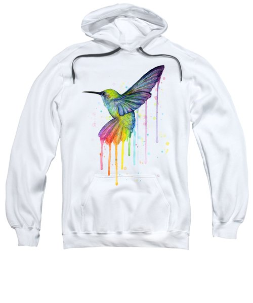 Hummingbird Of Watercolor Rainbow Sweatshirt by Olga Shvartsur