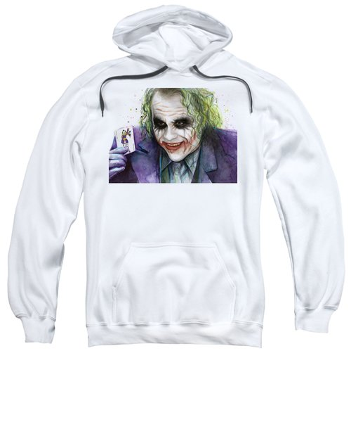 Joker Watercolor Portrait Sweatshirt by Olga Shvartsur