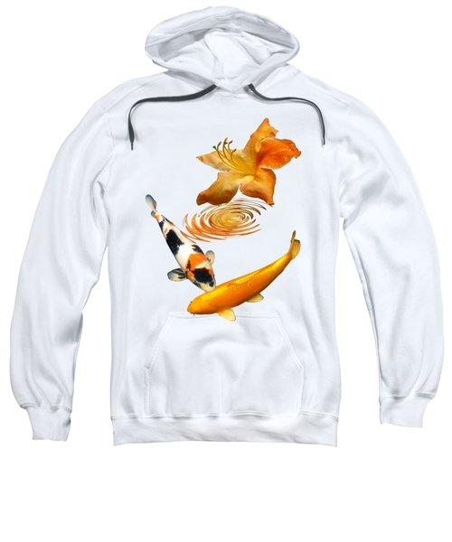 Koi With Azalea Ripples Vertical Sweatshirt by Gill Billington