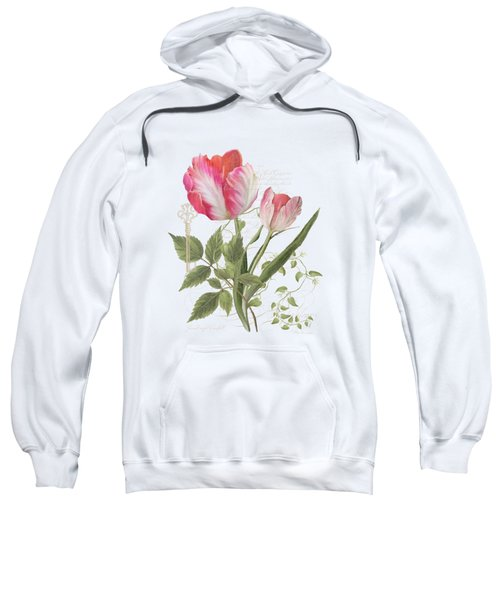 Les Magnifiques Fleurs I - Magnificent Garden Flowers Parrot Tulips N Indigo Bunting Songbird Sweatshirt by Audrey Jeanne Roberts