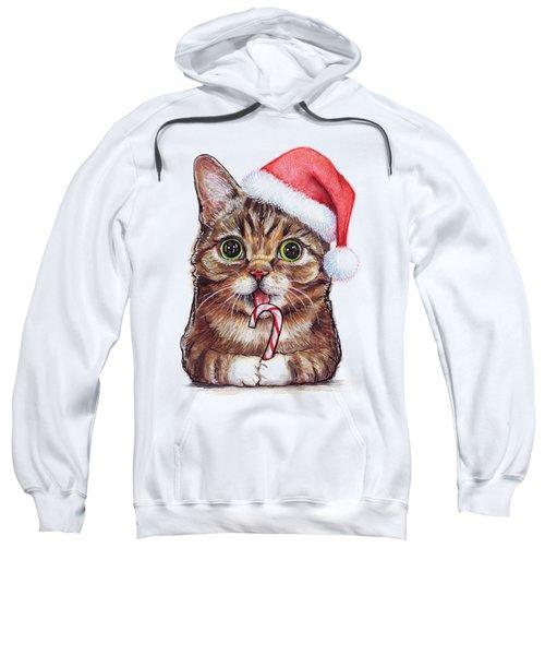Lil Bub Cat In Santa Hat Sweatshirt by Olga Shvartsur