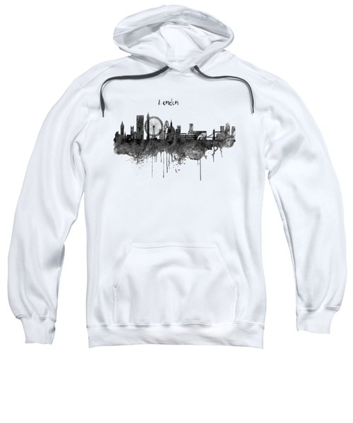 London Black And White Skyline Watercolor Sweatshirt by Marian Voicu