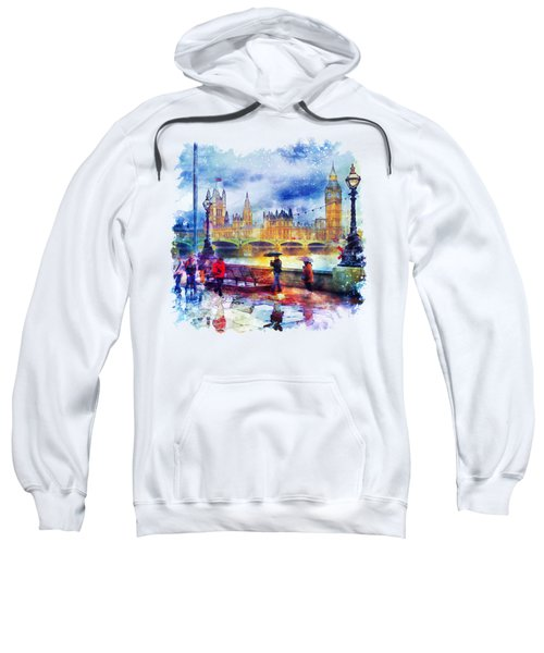 London Rain Watercolor Sweatshirt by Marian Voicu