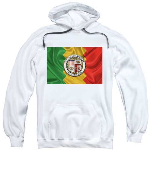 Los Angeles City Seal Over Flag Of L.a. Sweatshirt by Serge Averbukh