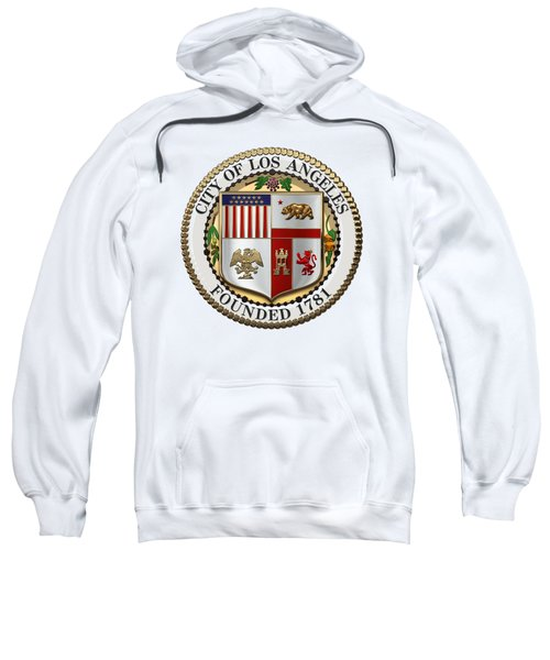 Los Angeles City Seal Over White Leather Sweatshirt by Serge Averbukh