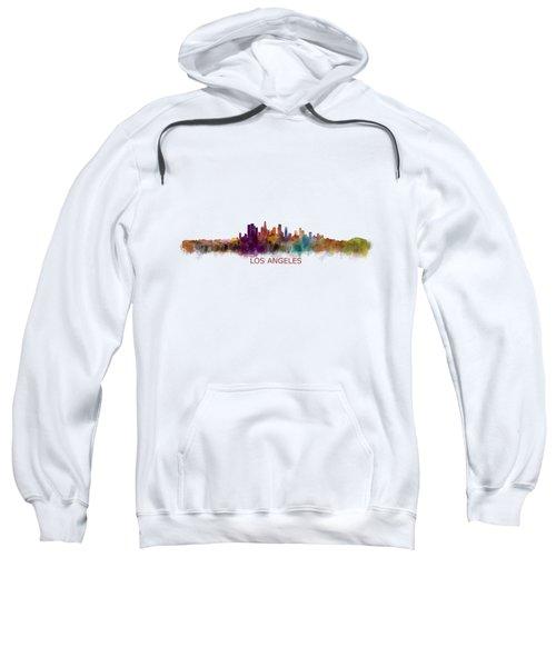 Los Angeles City Skyline Hq V2 Sweatshirt by HQ Photo