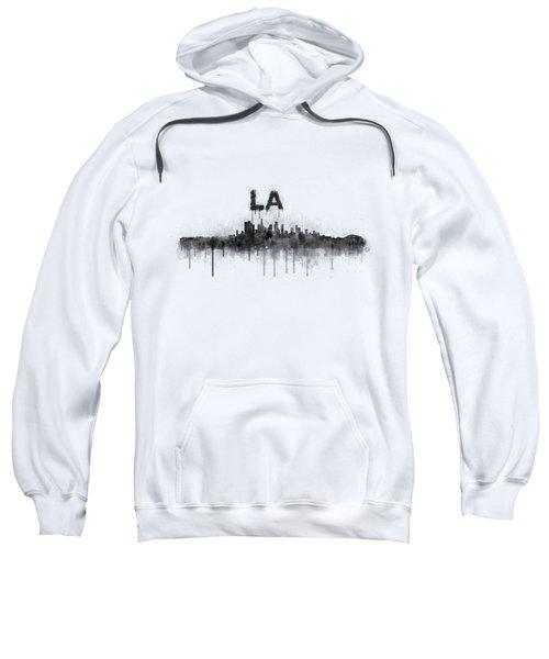 Los Angeles City Skyline Hq V5 Bw Sweatshirt by HQ Photo
