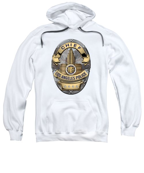 Los Angeles Police Department  -  L A P D  Chief Badge Over White Leather Sweatshirt by Serge Averbukh