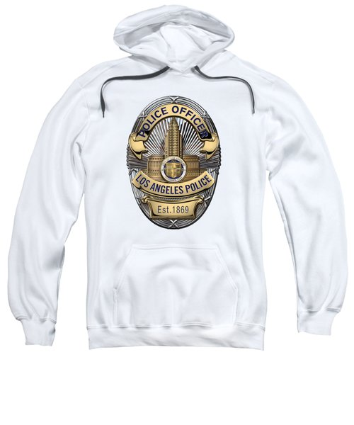 Los Angeles Police Department  -  L A P D  Police Officer Badge Over White Leather Sweatshirt by Serge Averbukh