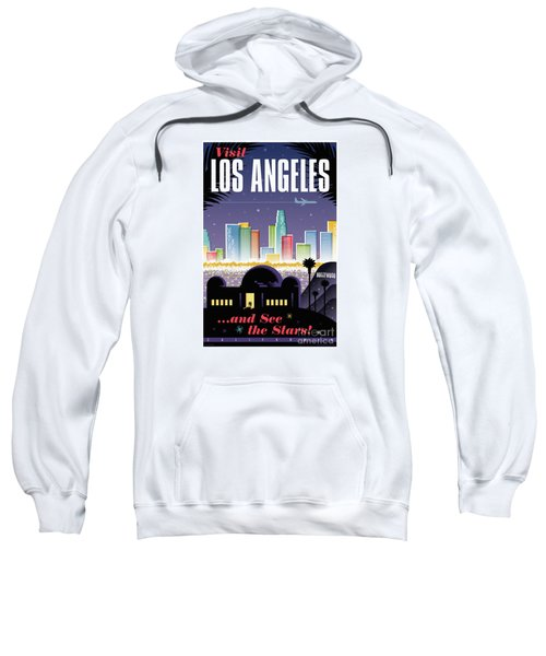 Los Angeles Retro Travel Poster Sweatshirt by Jim Zahniser