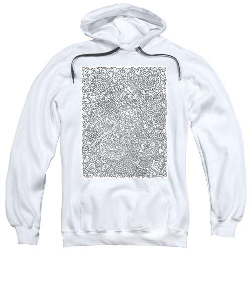 Love And Chrysanthemum Filled Hearts Vertical Sweatshirt by Tamara Kulish