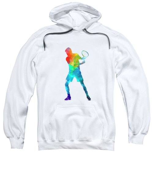 Man Tennis Player 02 In Watercolor Sweatshirt by Pablo Romero