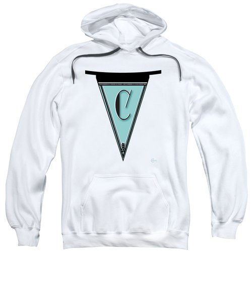 Pennant Deco Blues Banner Initial Letter C Sweatshirt by Cecely Bloom