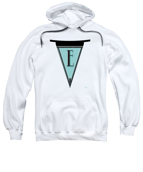 Pennant Deco Blues Banner Initial Letter E Sweatshirt by Cecely Bloom
