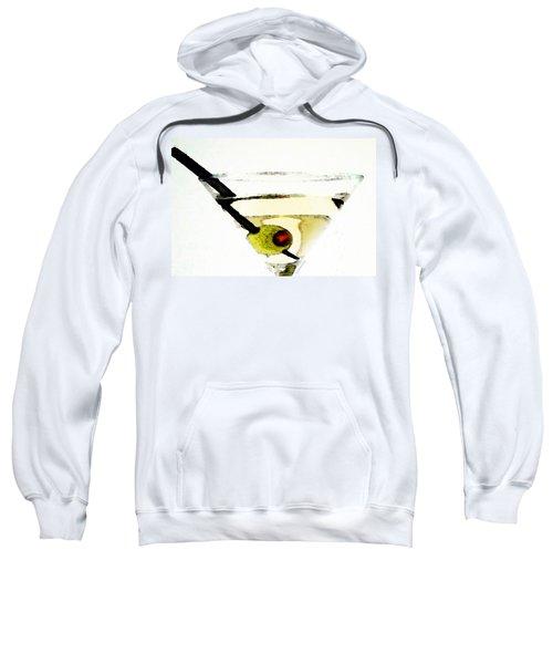 Martini With Green Olive Sweatshirt by Sharon Cummings