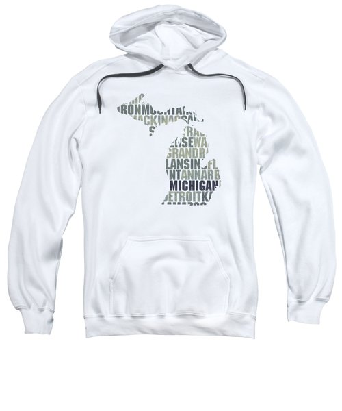 Michigan State Outline Word Map Sweatshirt by Design Turnpike