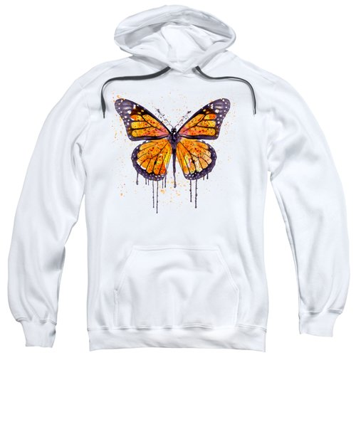 Monarch Butterfly Watercolor Sweatshirt by Marian Voicu