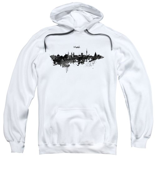 Munich Black And White Skyline Silhouette Sweatshirt by Marian Voicu