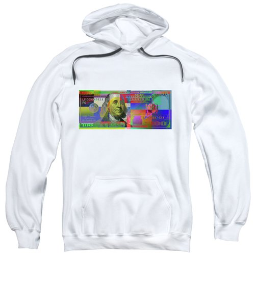 2009 Series Pop Art Colorized U. S. One Hundred Dollar Bill  V.3.0 Sweatshirt by Serge Averbukh