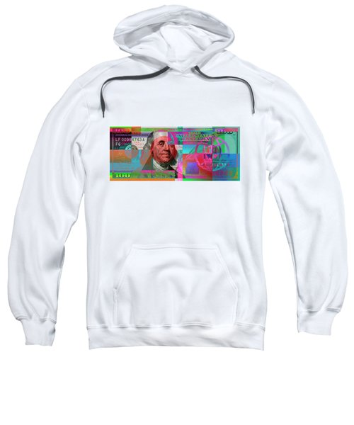 New 2009 Series Pop Art Colorized Us One Hundred Dollar Bill  V.3.2 Sweatshirt by Serge Averbukh