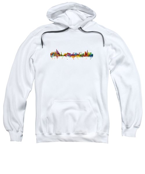 New York And London Skyline Mashup Sweatshirt by Michael Tompsett