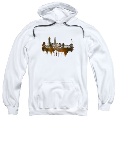 New York City Skyline Brown Sweatshirt by Justyna JBJart