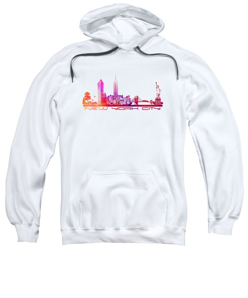 New York City Skyline Purple Sweatshirt by Justyna JBJart