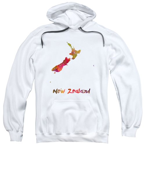 New Zealand In Watercolor Sweatshirt by Pablo Romero