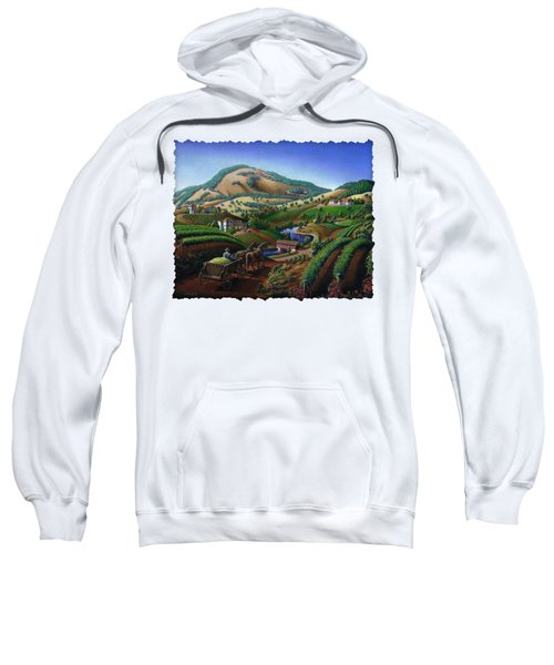 Old Wine Country Landscape - Delivering Grapes To Winery - Vintage Americana Sweatshirt by Walt Curlee