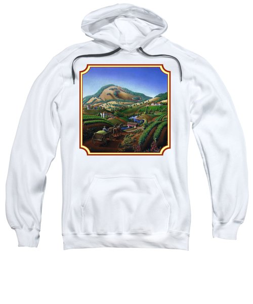 Old Wine Country Landscape Painting - Worker Delivering Grape To The Winery -square Format Image Sweatshirt by Walt Curlee