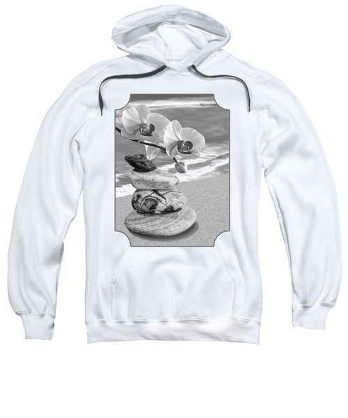 Orchids And Pebbles On The Sand In Black And White Sweatshirt by Gill Billington