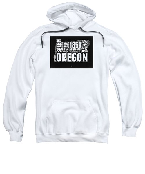 Oregon Black And White Map Sweatshirt by Naxart Studio