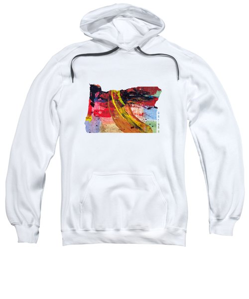 Oregon Map Art - Painted Map Of Oregon Sweatshirt by World Art Prints And Designs