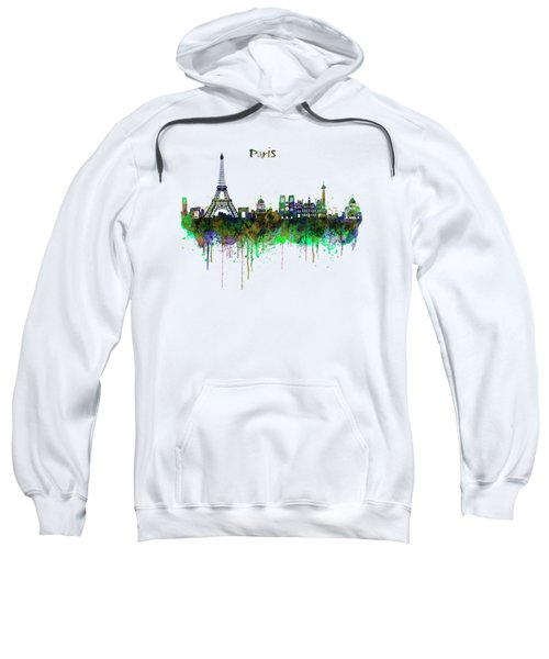Paris Skyline Watercolor Sweatshirt by Marian Voicu