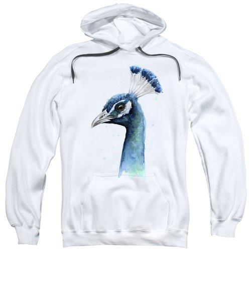 Peacock Watercolor Sweatshirt by Olga Shvartsur
