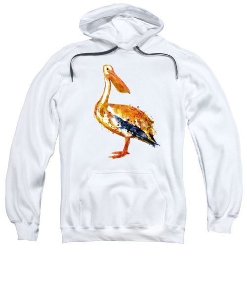 Pelican Watercolor Painting Sweatshirt by Marian Voicu